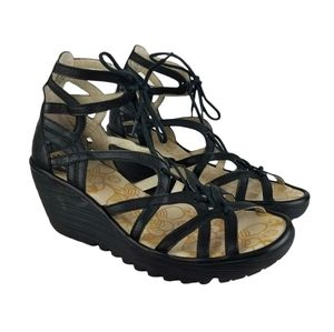 Fly London Leather Lace-Up Criss-cross Wedges Size 41